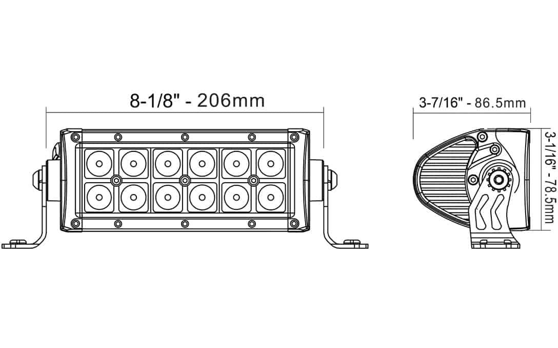 """6"""" Auxiliary Driving Light Bar - Dimensions"""