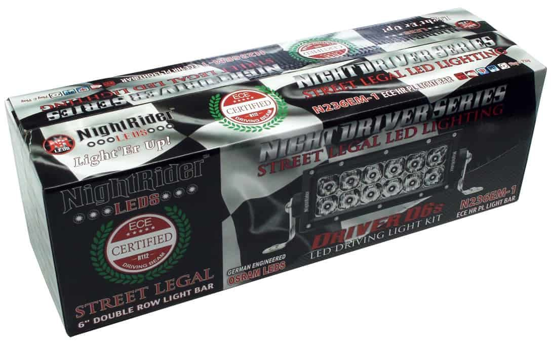 """NightDriver D6S - 6"""" Auxiliary Driving Light Bar boxed up."""