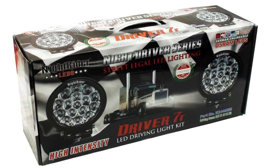 """NightDriver 7R - 7"""" Round Driving Light Kit boxed up"""