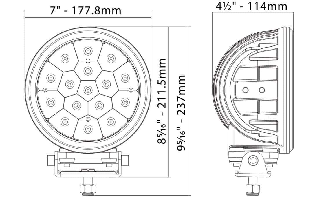 """Street Legal 7"""" Round LED Light Dimensions"""