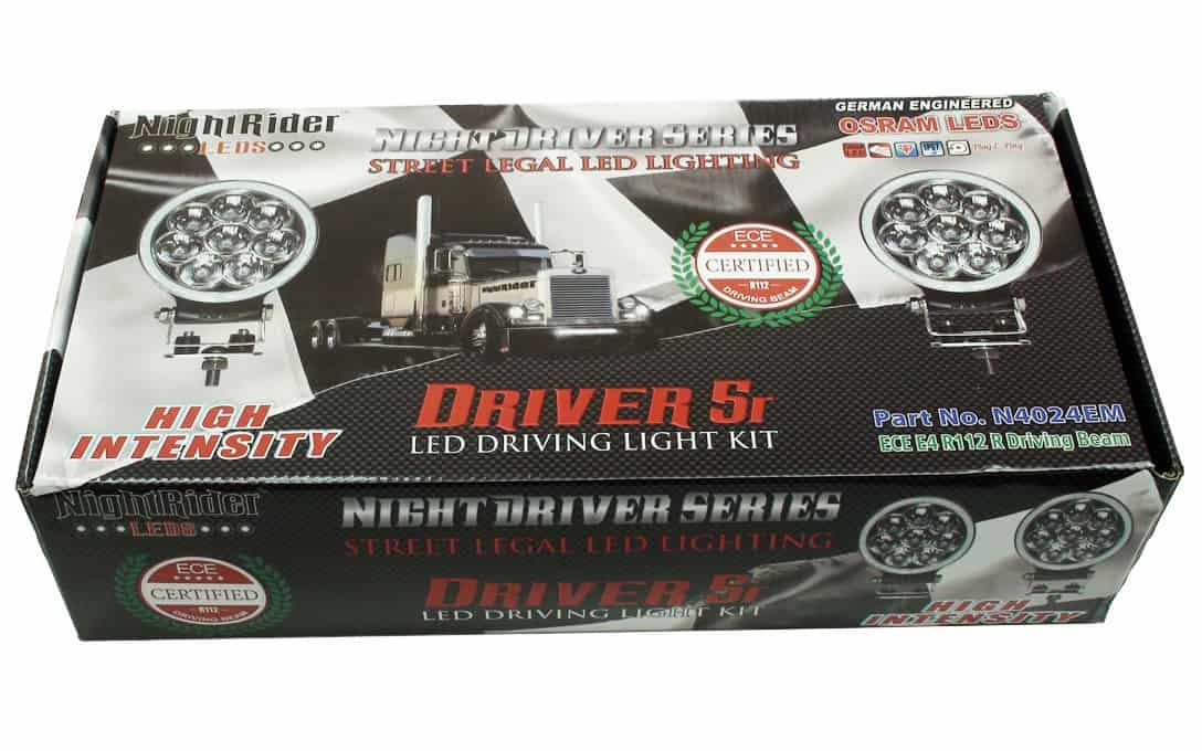 """NightDriver 5R - 5"""" Round Driving Lights boxed up."""