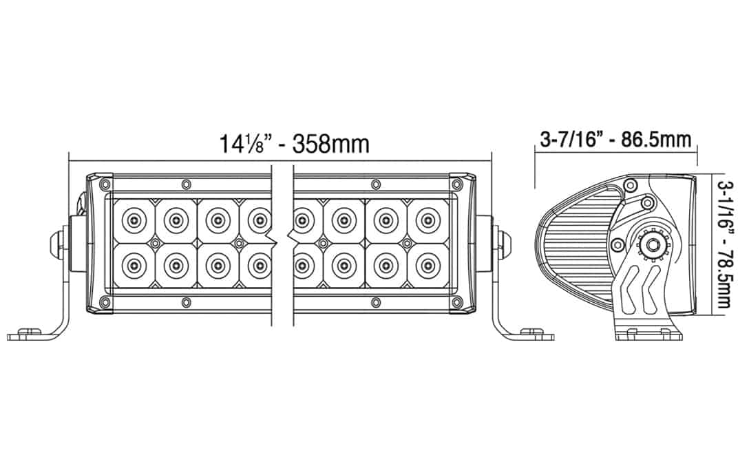 """12"""" Auxiliary Driving Light Bar - Dimensions"""