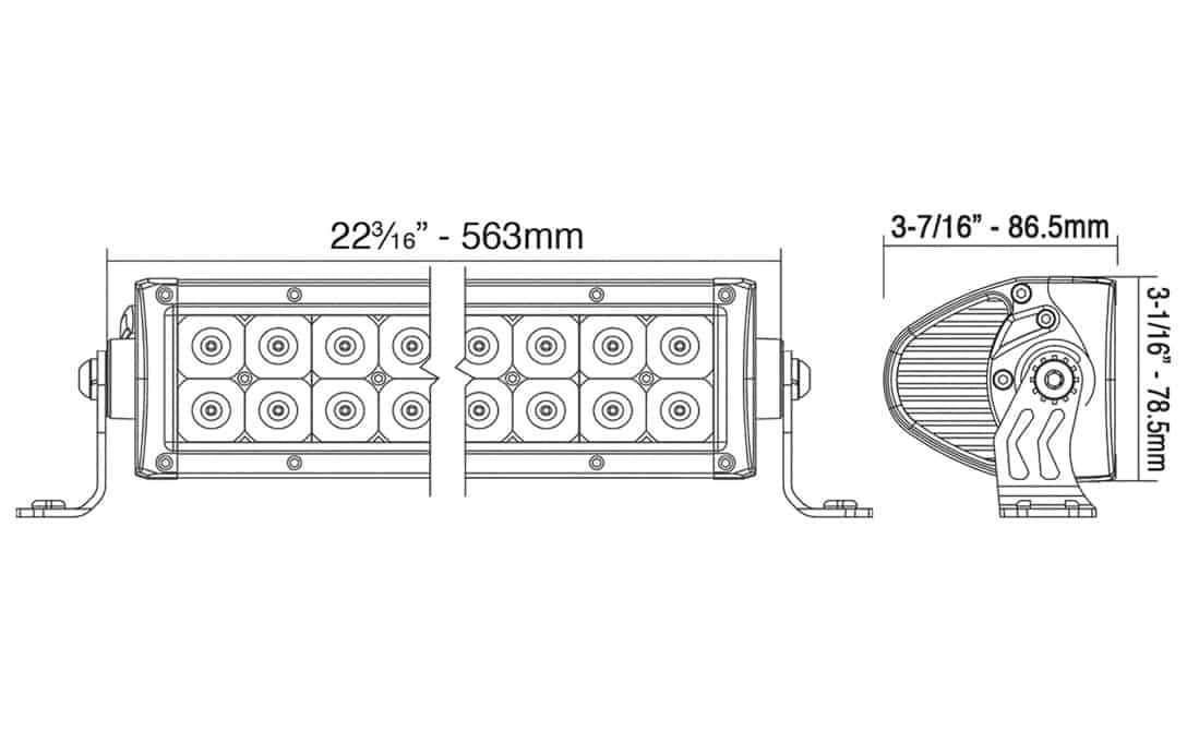 """20"""" Auxiliary Driving Light Bar - Dimensions"""