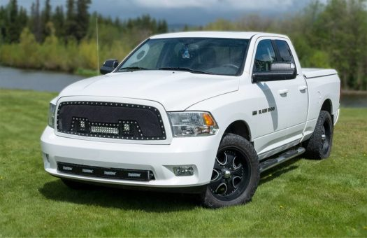 White Dodge Ram 1500 custom grill with NightRider Light Bars and Cube Lights