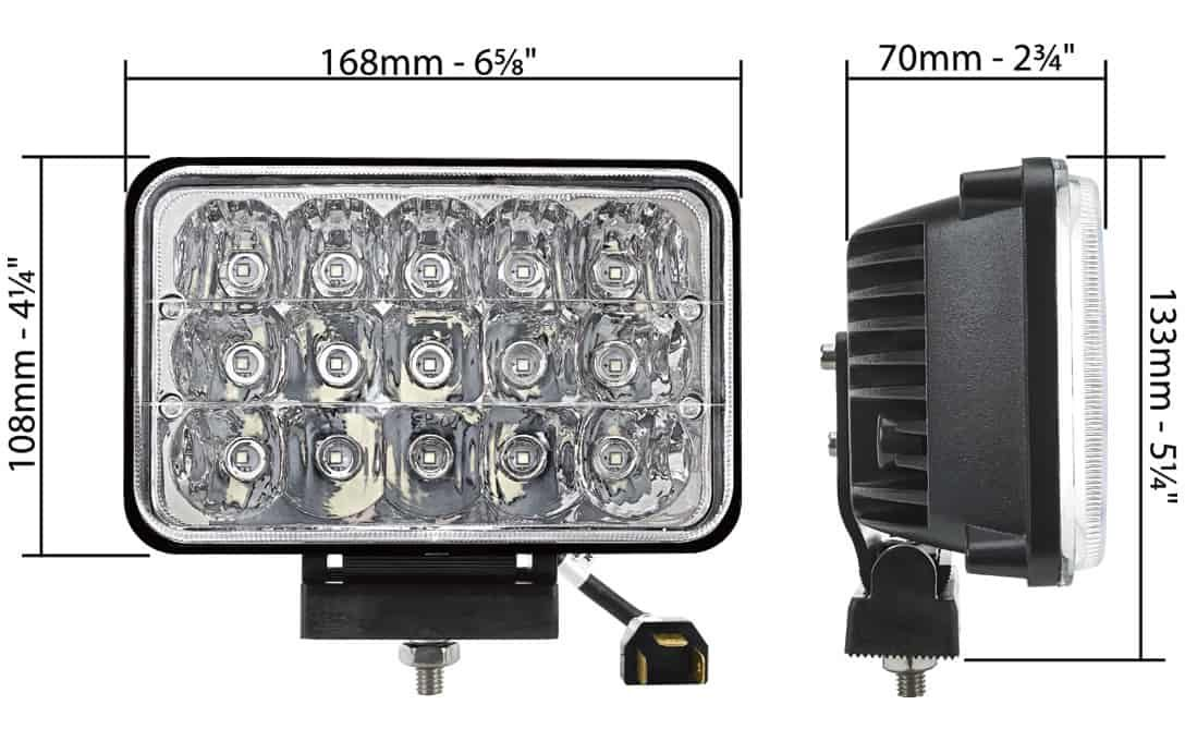 "Universal 4""x6"" Headlamp Dimensions"