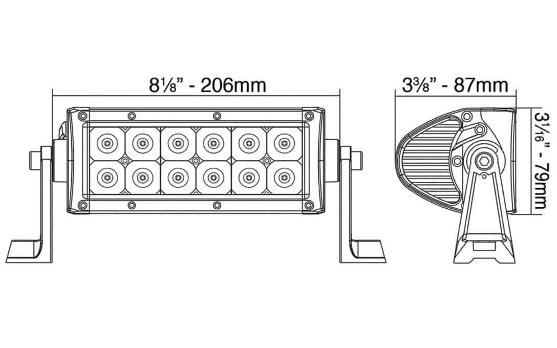 "6"" Double Row LED Light Bar - Dimensions"