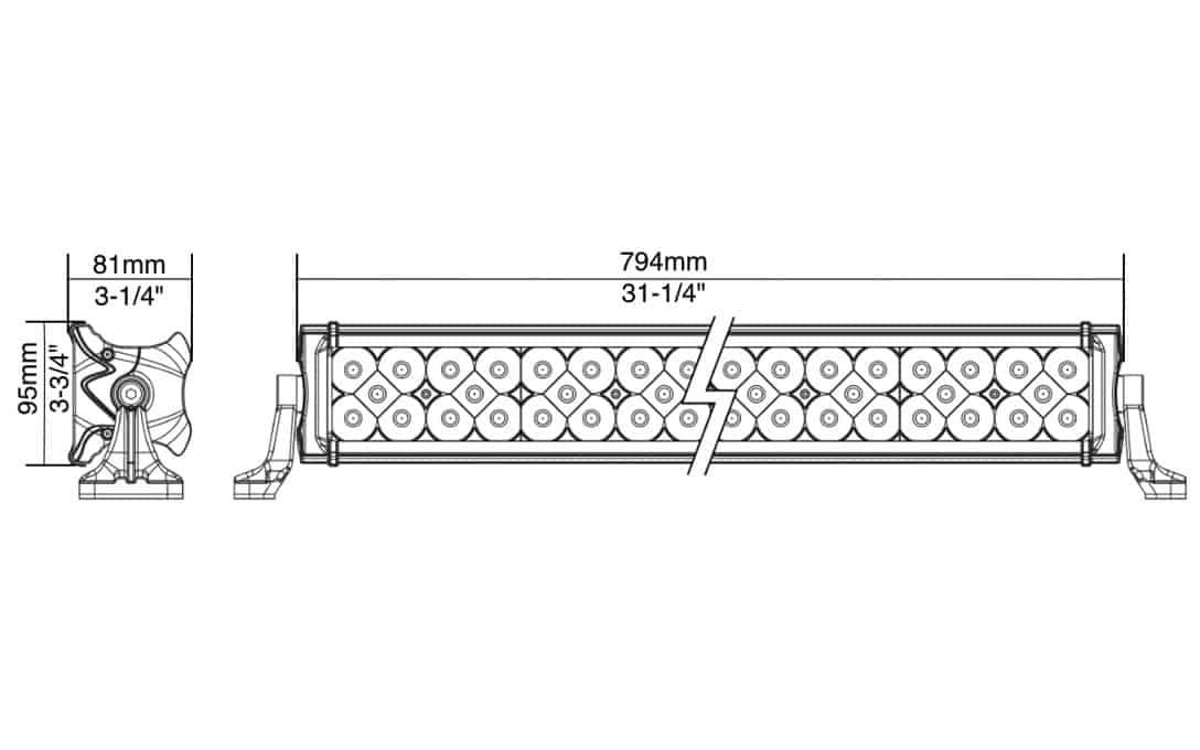 "Extreme Series 30"" Three Row Light Bar Dimensions"
