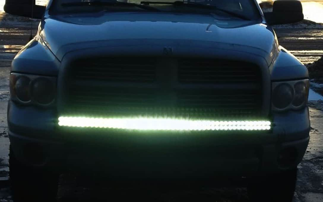 """Rider Series 50"""" Curved Double Row Light Bar Installed on Dodge Pickup Truck"""