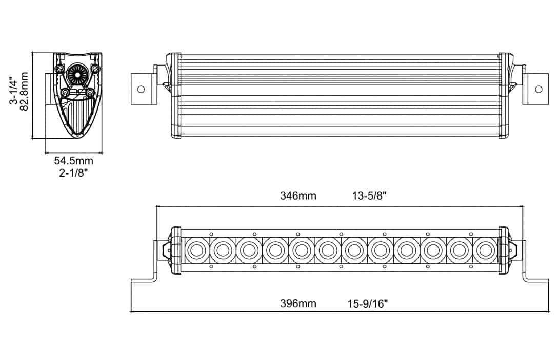"Extreme Series 13.5"" Single Row Light Bar Dimensions"