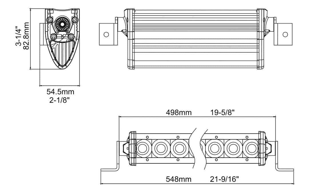"Extreme Series 20"" Single Row Light Bar Dimensions"