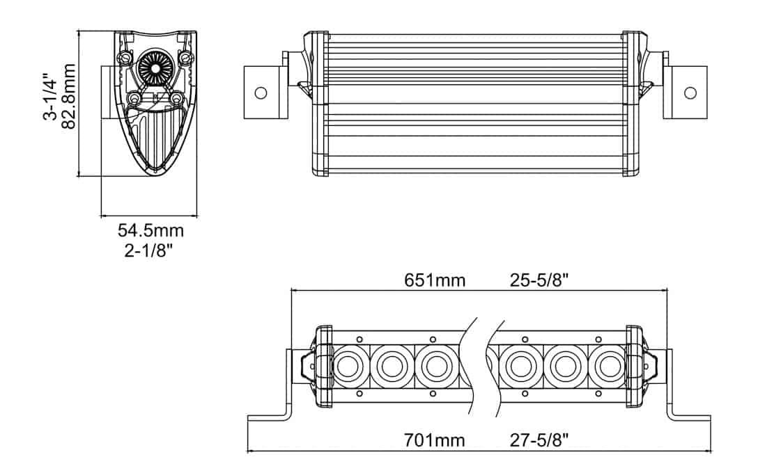 "Extreme Series 25"" Single Row Light Bar Dimensions"