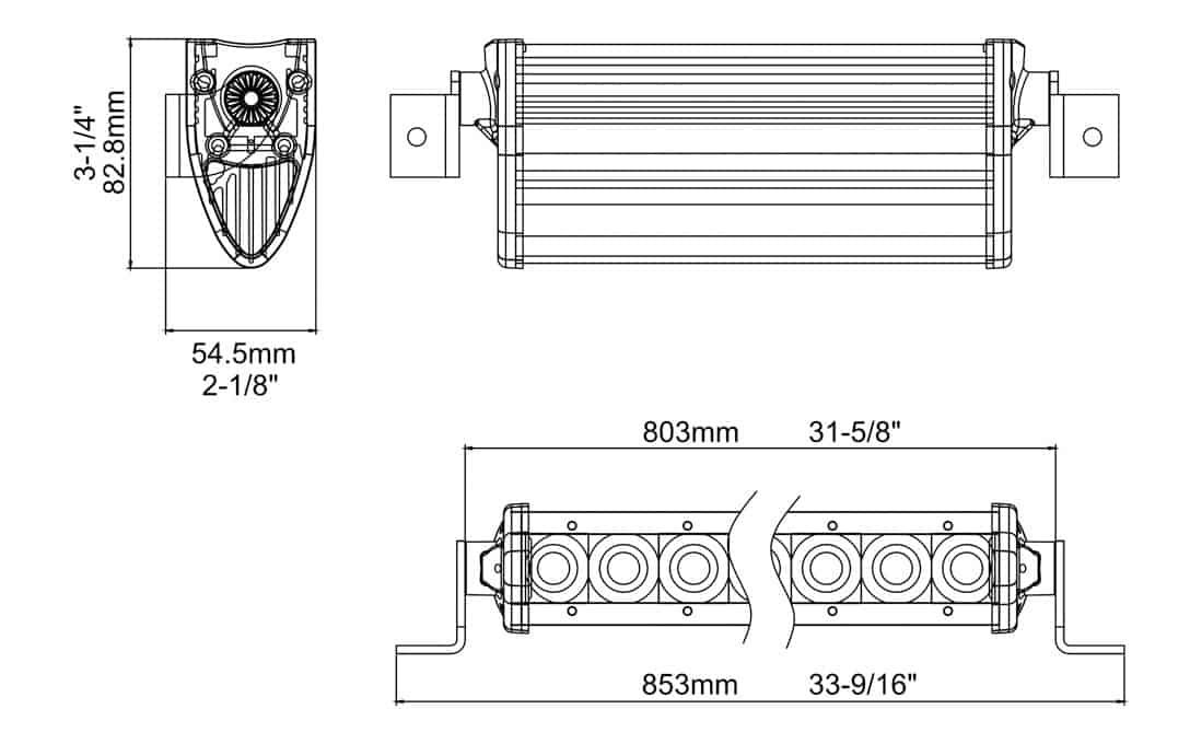 "Extreme Series 30"" Single Row Light Bar Dimensions"