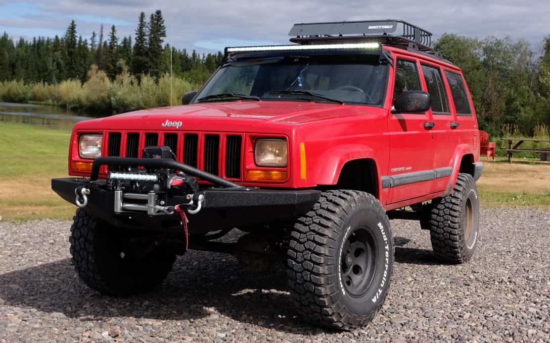 "Extreme Series 13"" Single Row Light Bar installed on Jeep Cherokee"