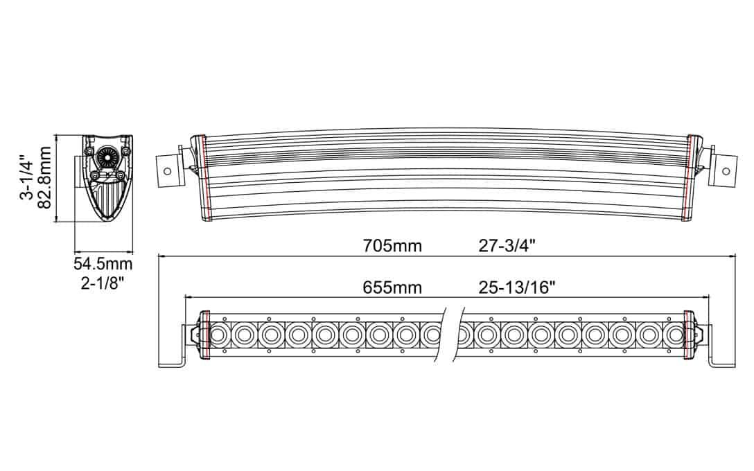 "Extreme Series 25"" Curved Single Row Light Bar Dimensions"