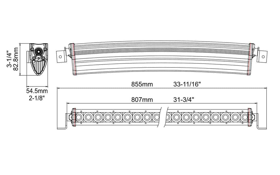 """Extreme Series 30"""" Curved Single Row Light Bar Dimensions"""