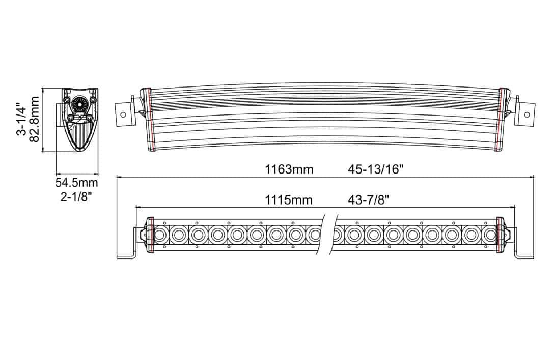 "Extreme Series 40"" Single Row Curved Light Bar Dimensions"