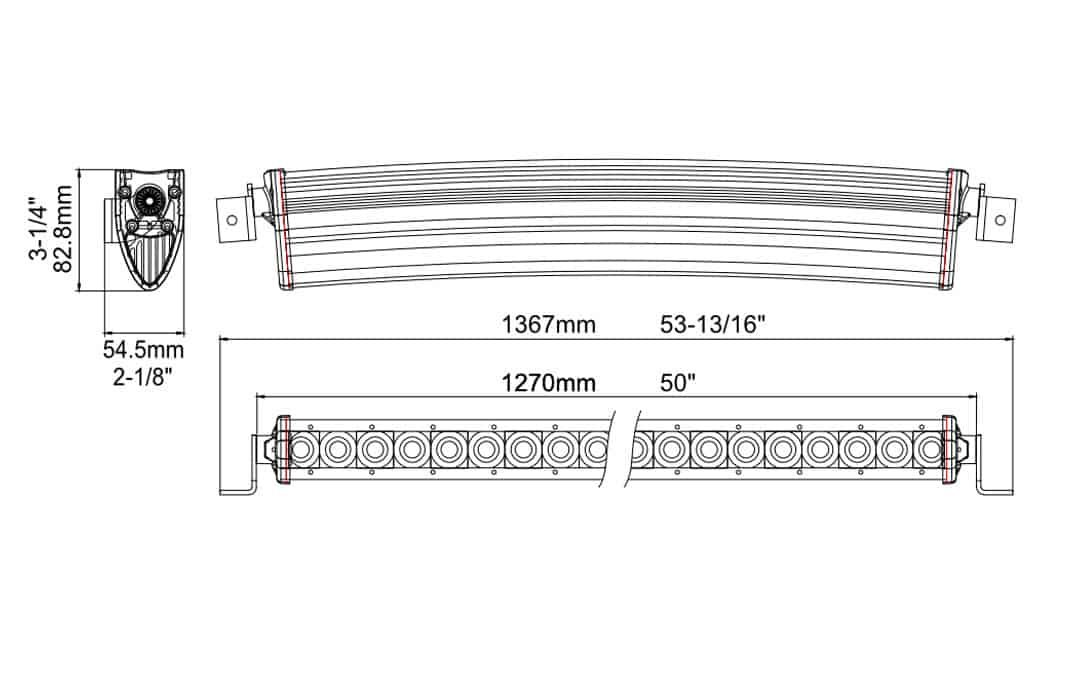 """Extreme Series 50"""" Curved Single Row Light Bar Dimensions"""
