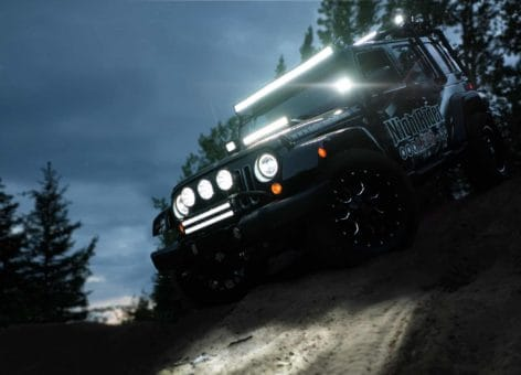 NightRider Jeep at night playing in moto-x sand pit