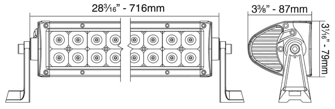 """Extreme Series 28"""" Double Row Light Bar Dimensions"""