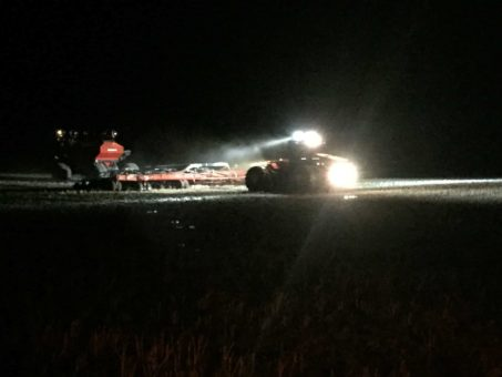 Case Tractor Seeding at Night with Rider Series Double Row Light Bars