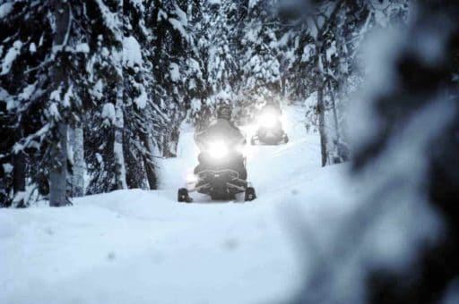 yamaha snowmobiles on forest trails shining headlights