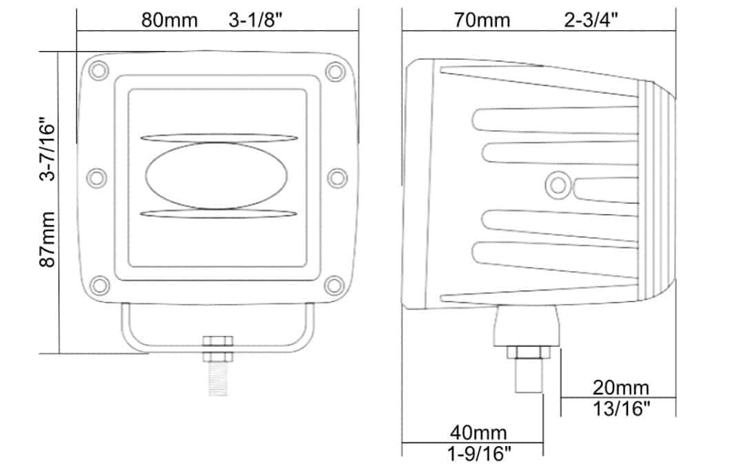 SAE/DOT LED Fog Light Dimensions