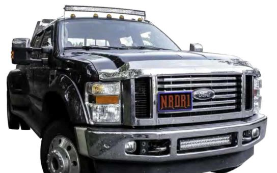 "Ford Super Duty with 50"" Curved Rider Series Bar Mounted on Roof using NMFSR-50"
