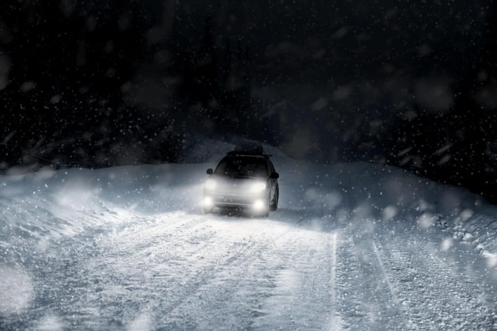 Car with NightRider Fog Lights in heavy winter storm
