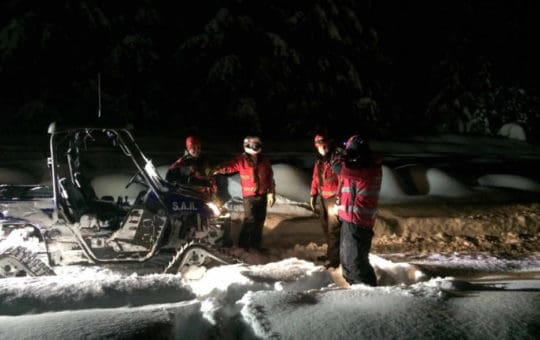 Winter Rhino Training at Night with NightRider Light Bars