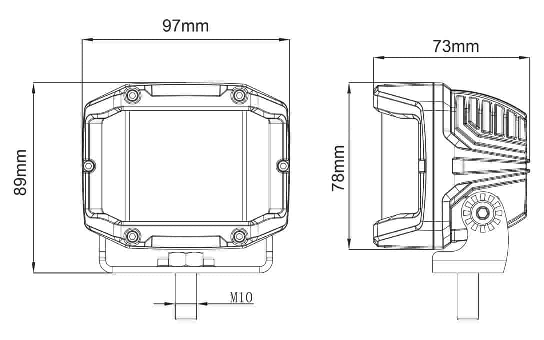 Side Shooter Light Dimensions