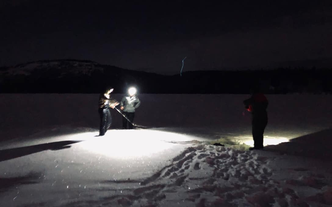 Ice Fishing At Night With NFH500C
