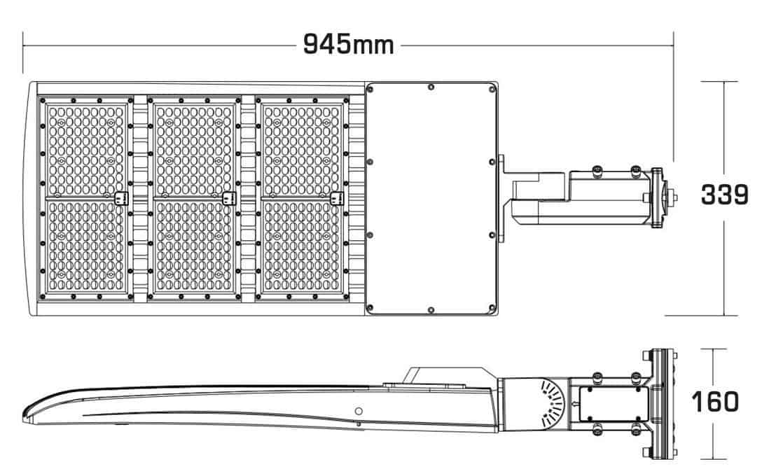 Dimensions of 450W Shoe Box Light with A&D Mount