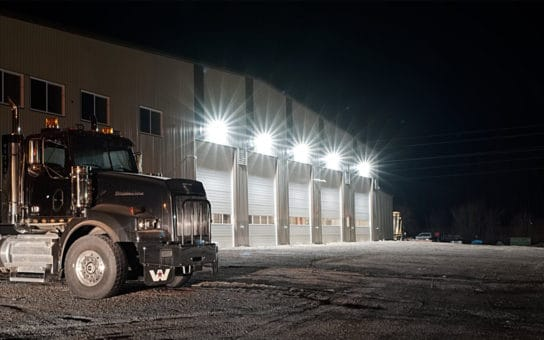 NightRider™ Commercial LEDS 80W Wallpacks installed on outside of building