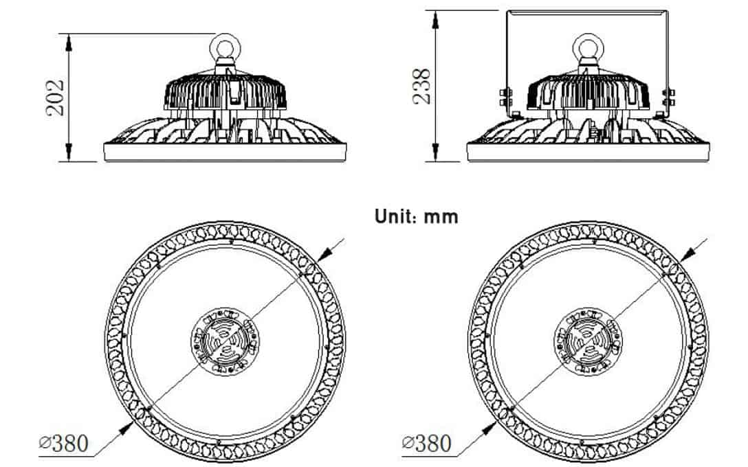 150W / 240W UFO Gen5 Dimensions