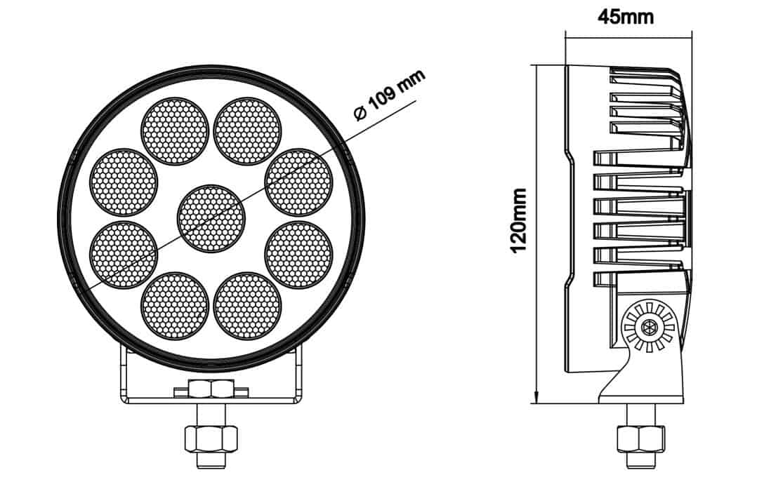 "High Intensity 4"" Round Work Light - Dimensions"