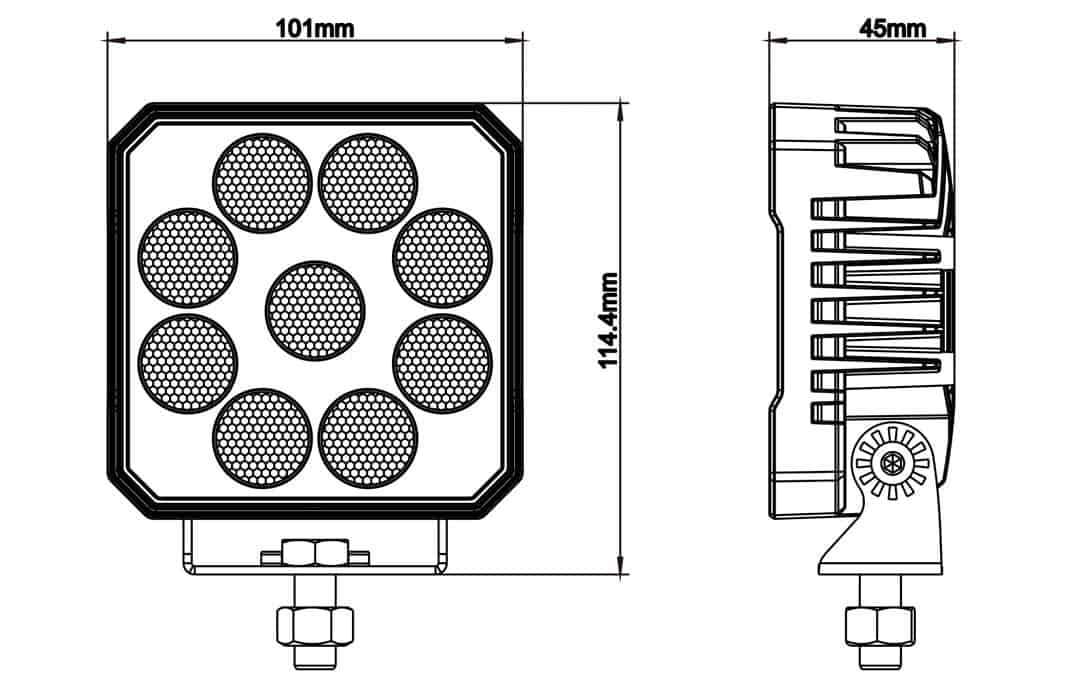 "High Intensity 4"" Square Work Light - Dimensions"