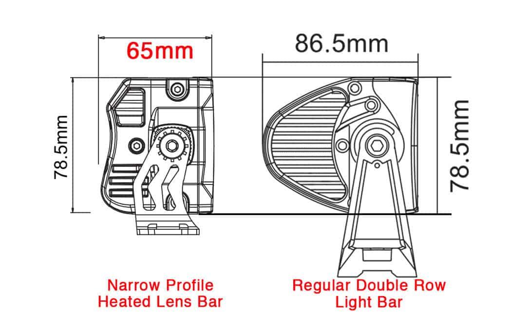 Profile Comparison between regular double row light bar and narrow profile heated lens bar