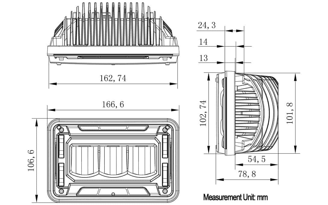 4x6 SAE/DOT Sealed Beam Replacement Headlight - High Beam - Dimensions
