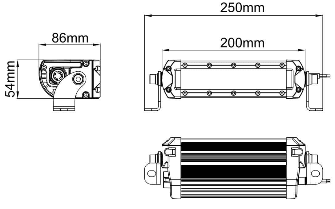 SAE/DOT Fog Light Bar Dimensions