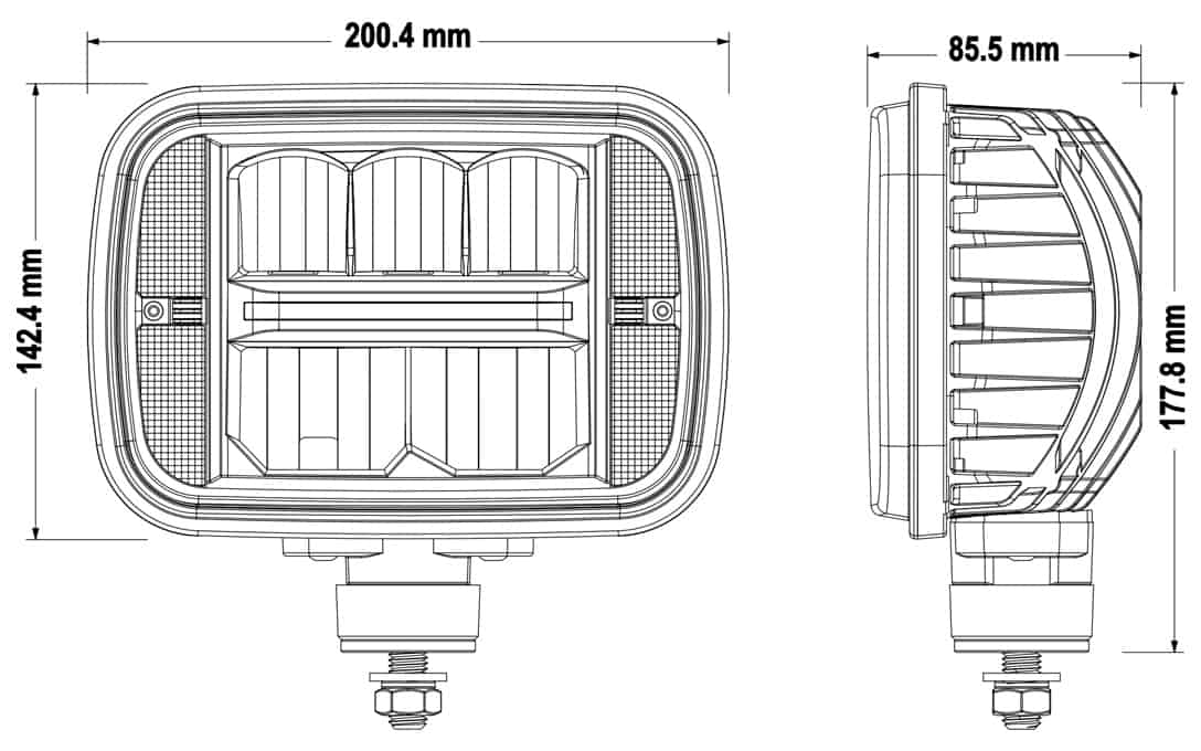 5x7 Sealed Beam Replacement Headlight - Dimensions