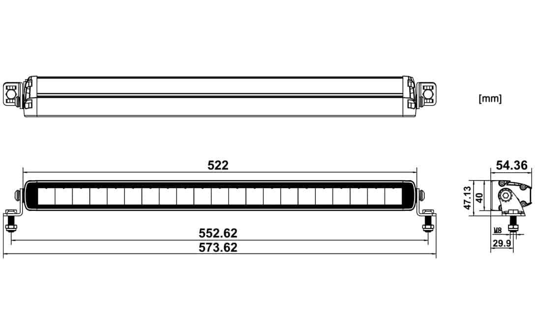 "20"" Jet Black Ultra Slim Bar - Dimensions"