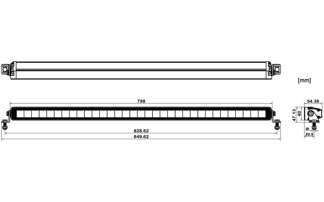 "32"" JET BLACK Ultra Slim E-Mark Bar - Dimensions"