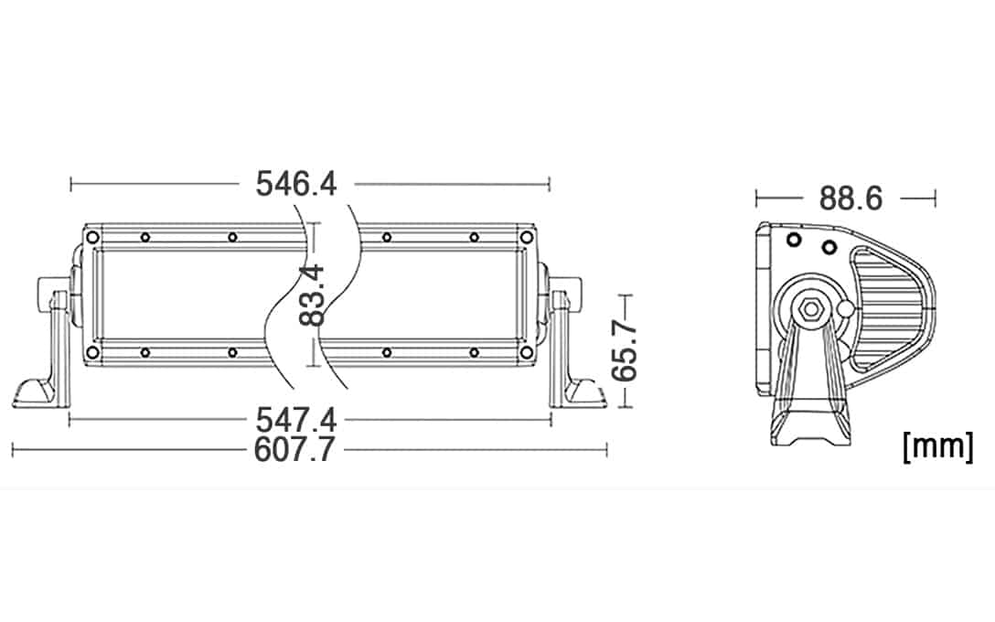 "SAE 20"" Double Row Bar - Dimensions"