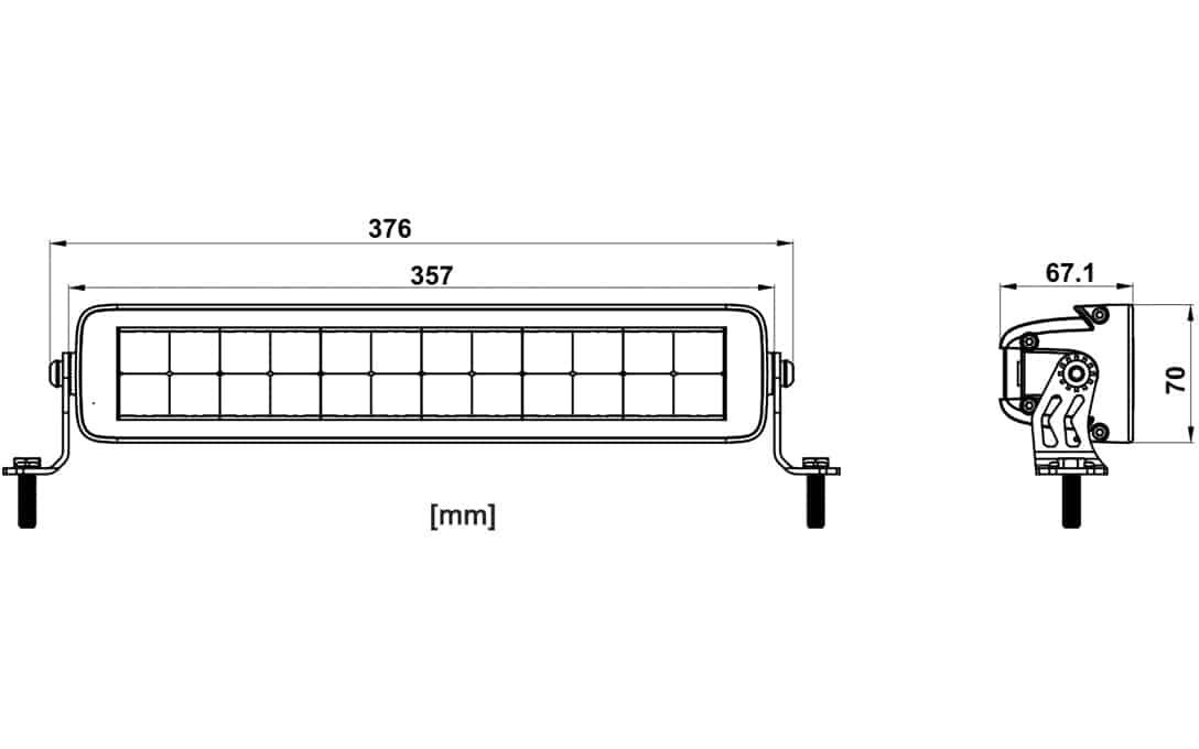 "JET BLACK 13"" Double Row E-Mark Bar - Dimensions"