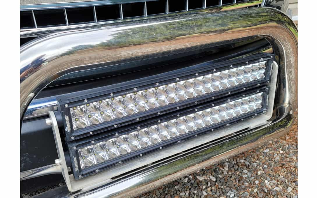 """Close Up of two 20"""" NightRider™ E-Mark light bars installed"""