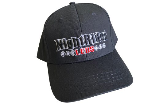 Black NightRider™ ball cap with big logo in front