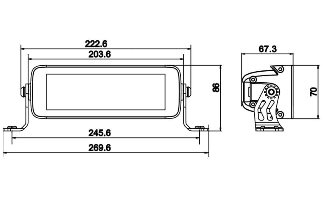 "Jet Black 7"" Double Row E-Mark Bar - Dimensions"
